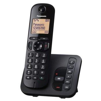 Безжичен телефон Panasonic KX-TGC220FXB, черно-бял дисплей, черен image