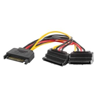 Захранващ кабел Lanberg CA-SASA-10CU-0015, SATA 15-pin към 2x Power SATA 15-pin, 0.15m image
