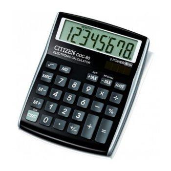 Калкулатор Citizen CDC-80, oсновни математически действия, черен image