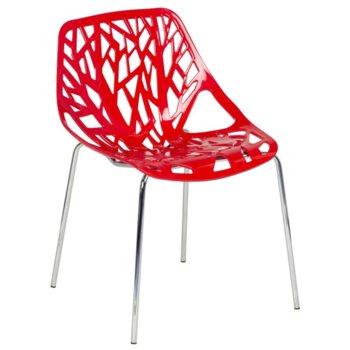 Трапезен стол Carmen 9911, пластмаса и хромирана основа и крака, червен image