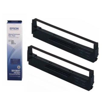 Лента за матричен принтер Epson LX-350, LX-300+II, LX-300+II (W. USB) 110V, LX-300+II Colour - Black - P№: C13S015647 - Dual Pack image