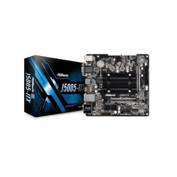 Дънна платка Asrock J5005-ITX, вграден четириядрен Gemini Lake Intel Pentium Silver J5005 1.5/2.8 GHz, PCI-E (HDMI&DVI&VGA), DDR4, LAN, 4x SATA3 6.0 Gb/s, 1x M.2, USB 3.1 Gen1, Mini ITX image