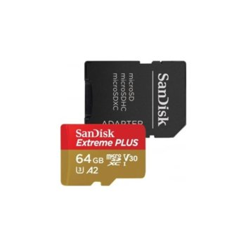 Карта памет 64GB microSDXC с адаптер, Sandisk Extreme Plus, UHS-I U3, скорост на четене 170MB/s, скорост на запис 90MB/s image