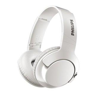 Слушалки Philips BASS+ (SHB3175WT), безжични, микрофон, компактно сгъване, бели image