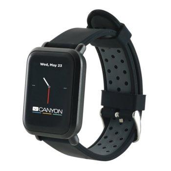 "Смарт часовник Canyon Sanchal, 1.22""(3.09 cm) сензорен дисплей, Bluetooth 4.0, IP68 водоустойчивост, iOS/Android, черен image"