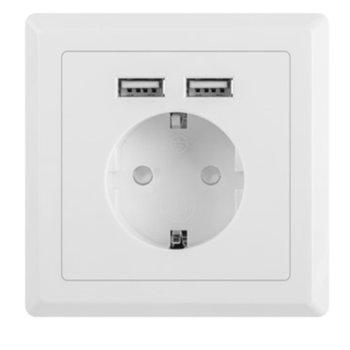 Зарядно устройство Lanberg AC-WS01-USB2-F, от контакт към контакт + 2х USB А(ж) image