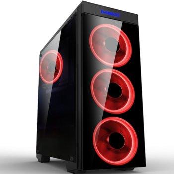 Кутия Makki MAKKI-8872-RED-4F, ATX/mATX/Mini-ITX, 1x USB 3.0, прозрачни панели, 4x 120мм вентилатора с червена подсветка, черна, без захранване image