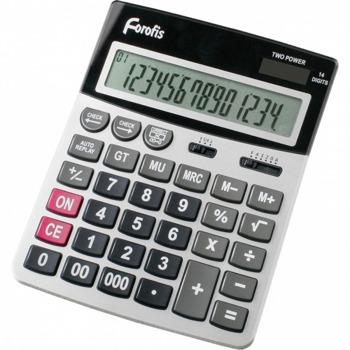 """Калкулатор Forofis 91593, 14-разряден LCD дисплей, настолен, десетичен селектор, закръглящ селектор, корен квадратен, двойна памет, клавиш """"тройна нула"""" функция на паметта с 4 клавиша: MR, MC, M +, M-, сребрист image"""