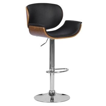Бар стол Carmen 4050, до 100кг, еко кожа, хромирана база, газов амортисьор, коригиране на височина, черен image