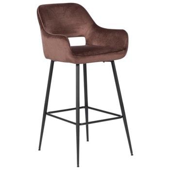 Бар стол Carmen TRING, до 100кг, дамаска, метална база, прахово боядисан, кафяв image