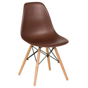 Трапезен стол Carmen 9956 D, полипропилен, дървена база, кафяв image
