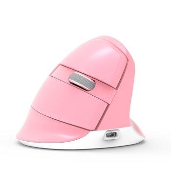 Мишка Delux M618 Mini, оптична(2400dpi), безжична (Bluetooth и 2.4GHz), USB C, вертикална, розова image