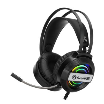 Слушалки Marvo HG8902, микрофон, AUX, RGB подсветка, черни image