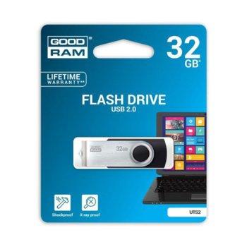Памет 32GB USB Flash Drive, Goodram UTS2, USB 2.0, черно/сребриста  image