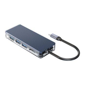 Докинг станция Orico WB-8P-GY, 1x USB Type C (м), VGA, HDMI, 2x USB 3.0 Type A, RJ-45, USB Type C, SD Card Reader, AUX, 0.15m, бяла image