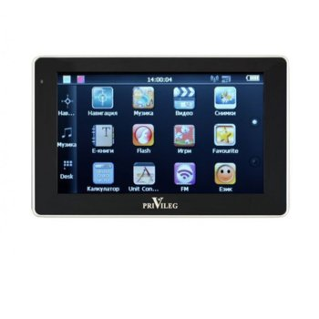 "Навигация за автомобил Privileg 50MT-V2, 5"" (12.7cm), сензорен екран, 4GB вградена памет (+microSD слот), без вградени карти image"