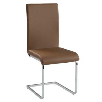 Трапезен стол Carmen 373, еко кожа, хромирана база, кафяв image