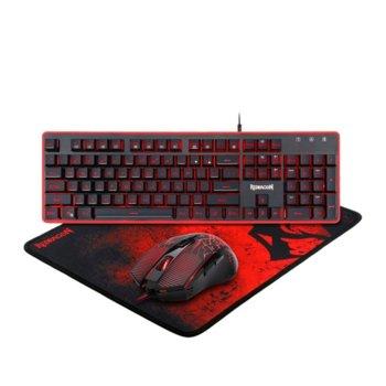 Комплект клавиатура и мишка, подложка Redragon S107, гейминг, мишка оптична (3200 dpi), черни/червени image