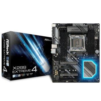 Дънна платка ASRock X299 Extreme4, X299, LGA2066, DDR4, PCI-E (SLI&CFX), 8x SATA 6.0 Gb/s, 2x M.2, 1x USB 3.1 Gen1, 1x Thunderbolt, RGB, ATX image