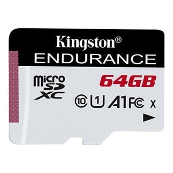 Карта памет 64GB microSDXC, Kingston Endurance, Class 10, скорост на четене 95 MB/sec, скорост на запис 30 MB/sec image