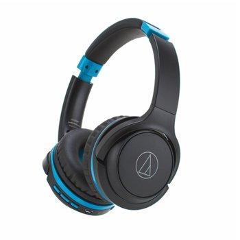 Слушалки Audio-Technica ATH-S200BTGBL, безжични(Bluetooth 4.1), микрофон, бързи бутони, до 40 часа време за работа, сиви-сини image