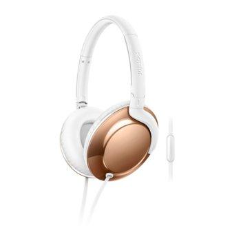 Слушалки Philips Flite Everlite SHL4805RG, микрофон, 32мм мембрани, дълбок бас, бързи бутони, сгъваеми, ъглов жак, бели-златисти image