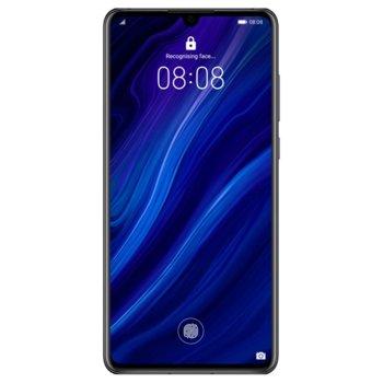 """Смартфон Huawei P30 (черен), поддържа 2 sim карти, 6.1"""" (15.49 cm) FHD+ OLED дисплей, осемядрен Cortex-A76 2.6GHz, 6GB RAM, 128GB Flash памет (+nano слот), 40.0MPix + 16.0MPix + 8.0MPix & 32.0 MPix камера, Android, 165g image"""