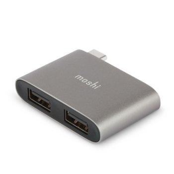 USB Хъб Moshi 99MO084214, от USB-C(м) към 2x USB-A(ж), сребрист image