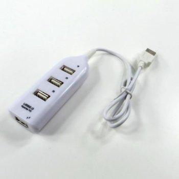 USB Хъб 4 PORT mod CQT-H002 White, от USB 2.0(м) към 4x USB 2.0(ж), бял image