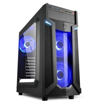 Кутия Sharkoon Middle VG6-W Blue Led, ATX/Mini ITX/Micro-ATX, 2x USB 3.0, 2x USB 2.0, прозорец, 2x вентилатора отпред, 1х вентиалтор отзад, черна, със синя LED подсветка, без захранване image