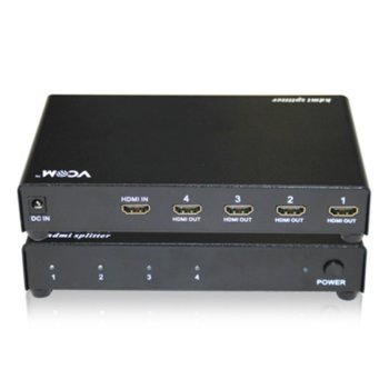 Сплитер VCom DD414A, 1x HDMI вход към 4x HDMI изхода image
