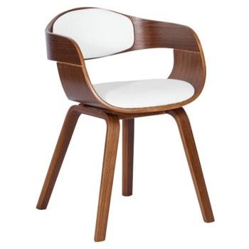 Трапезен стол Carmen 9974, до 120кг. макс. тегло, орех, еко кожа/дърво, дървена база, бял image