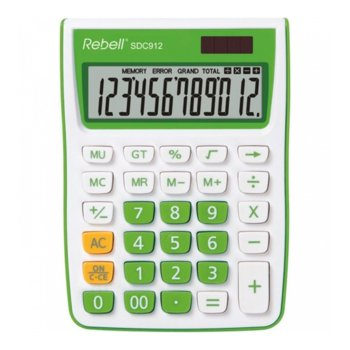 Калкулатор Rebell SDC912 stylish, 12 разряден дисплей, бяло/зелен image