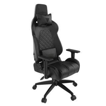Геймърски стол Gamdias Achilles E1 L RGB, кожа, до 200 кг натоварване, облегалки за ръцете с 2D регулиране, черен image