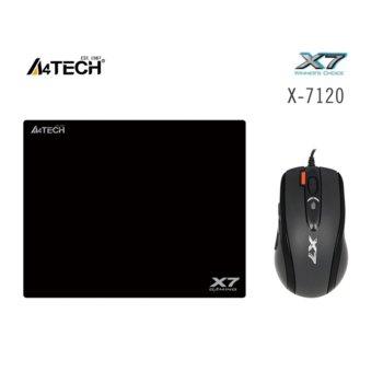 Мишка A4tech X710BK Oscar, в пакет с пад X7-200MP оптична 2000 dpi, 7 бутона, USB, черна image