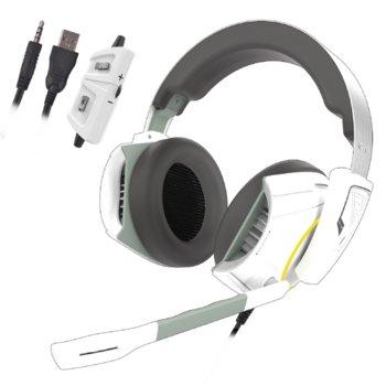 Слушалки Gamdias HEPHAESTUS E1, микрофон, 3.5mm/USB, гейминг, подсветка, бели image