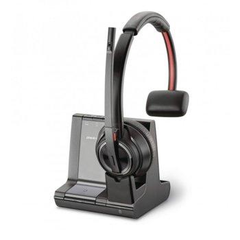 Слушалки Plantronics SAVI W8210 3IN1 UC Mono, безжични, микрофон, до 13 часа време за разговори, Bluetooth, 180 м обхват, сив image