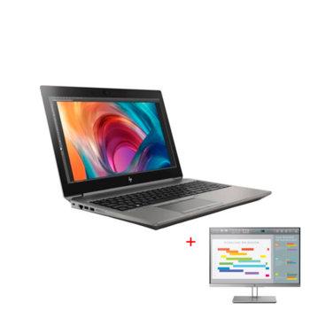 """Лаптоп HP ZBook 15 G6 (6TR61EA) в комплект с монитор HP EliteDisplay E243i, шестядрен Coffee Lake Intel Core i7-9850H 2.6/4.6 GHz, 15.6"""" (39.62 cm) Full HD IPS Display & Quadro T2000 4GB, 16GB DDR4, 512GB SSD, USB Type-C, Windows 10 Pro image"""