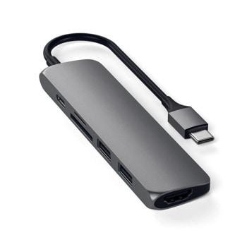 Докинг станция Satechi ST-SCMA2M, 1x USB Type C, 1x micro/SD, 2x USB 3.0, 1x HDMI. сива image