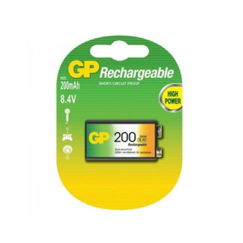 Акумулаторна батерия GP 20R8H-2UE1, 9V, 20R8H, 8.4V, 200mAh, NiMH, 1бр. image