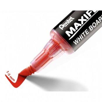 Маркер Pentel Maxiflo Flex-Feel, червен, от 1.0 до 5.0 mm, за бяла дъска, огъващ се връх image