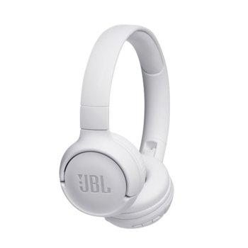Слушалки JBL Tune 500BT, безжични, микрофон, до 16 часа работа, бели image