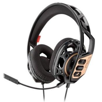 Слушалки Plantronics RIG 300, микрофон, гейминг, 3.5 mm жак, черни/златист image