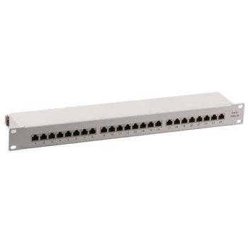 """Пач панел EFB Elektronik 37666.1M, 24x порта, 19"""", 1U, екраниран, Class EA, Cat.6А, IDC T568A/T568B, FTP, сив image"""