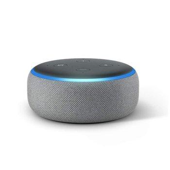 Смарт колонка Amazon Echo Dot 3 Heather Grey, микрофон, Wi-Fi, Bluetooth, гласов асистент, сива image