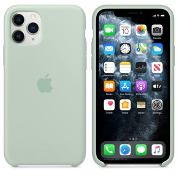 Калъф за Apple iPhone 11 Pro, силиконов, Apple Silicone Case MXM72ZM/A, зелен image