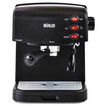 Ръчна еспресо машина MUHLER MCM-1585, 850 W, 15 bar, 1.5 литра, крема диск, разпенване, капучино, черна image