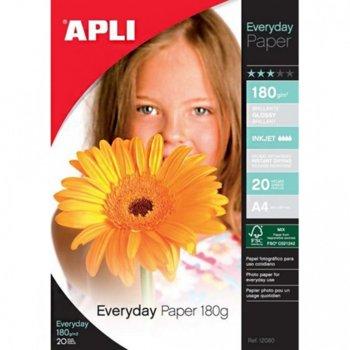 Фотохартия Apli Everyday, A4, гланцирана, 180 g/m2, 20 листа image