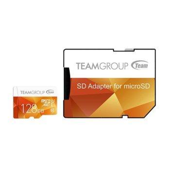 Карта памет 128GB microSDXC Team Group Color с адаптер, Class 10 UHS-I, скорост на четене 80 MB/s, скорост на запис 20 MB/s image