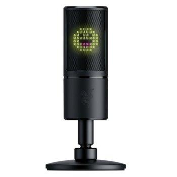 Микрофон Razer Seiren Emote (RZ19-03060100-R3M1), USB, със стойка, 8-битов LED дисплей който възпроизвежда анимирани и статични емотикони, черен image